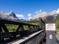 Cycle path bridge in Canmore. We spotted a group doing boot camp fitness class on the bridge - what a great setting!