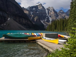 Canoe rentals are a popular attraction at Moraine Lake