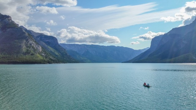 canoe on Lake Minnewanka