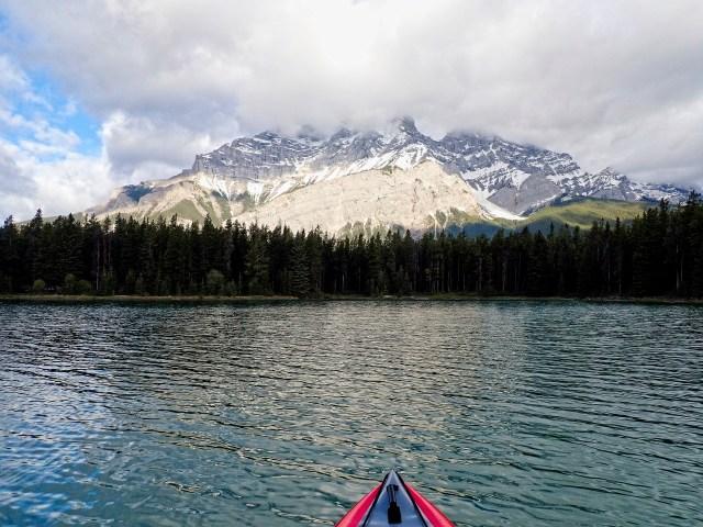 Cascade Mountain viewed while kayaking Two Jack Lake
