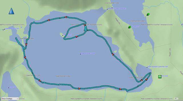 GPS track of kayaking Upper Kananaskis Lake