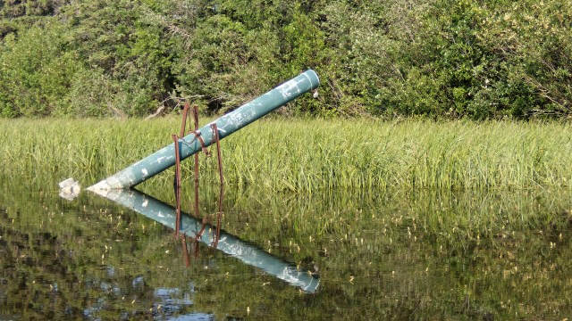 rusting infrastructure between first and second Vermilion Lakes