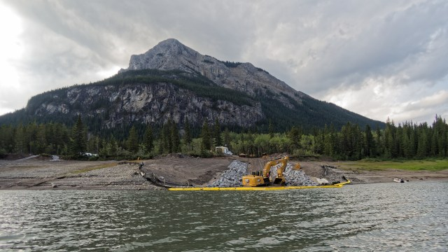 Barrier Lake boat launch construction