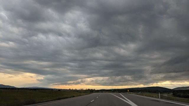 heavy clouds over highway