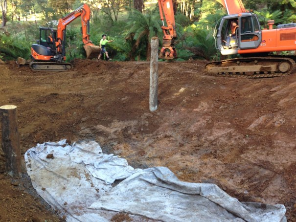 Reinstating a dam wall and compacting with machinery.