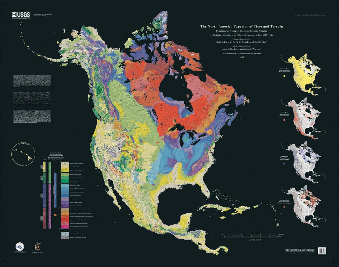 El mapa del Tiempo y del Terreno de Norteamérica