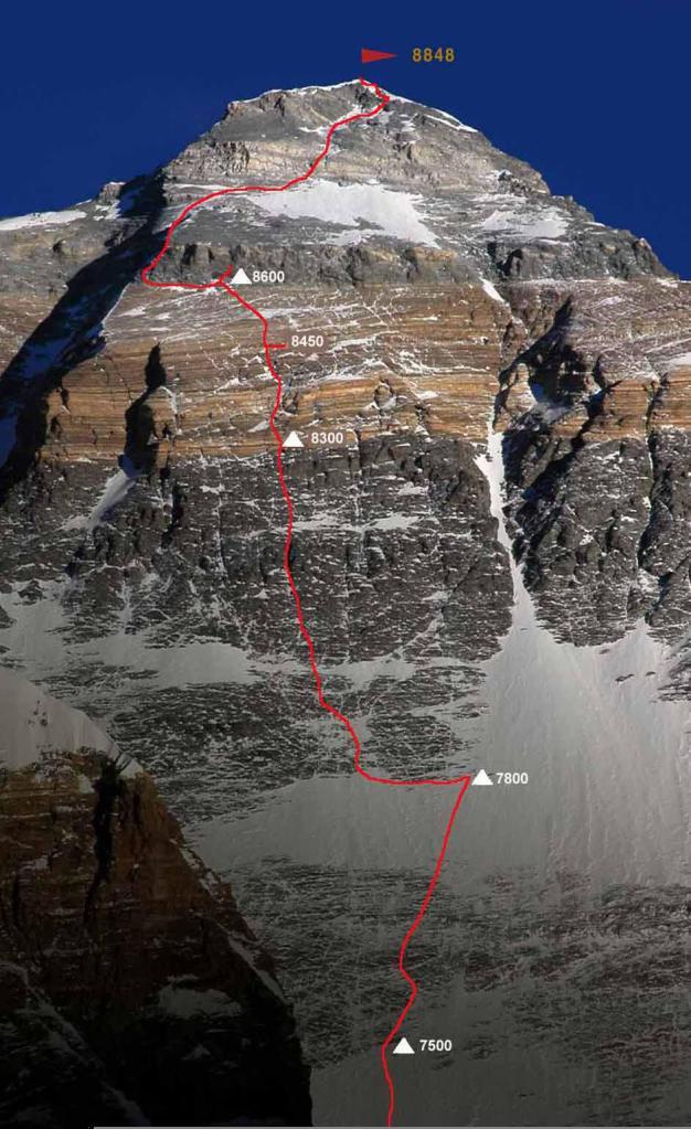 """Ruta de ascenso norte. Monte Everest. Se observa con claridad la """"franja amarilla""""."""