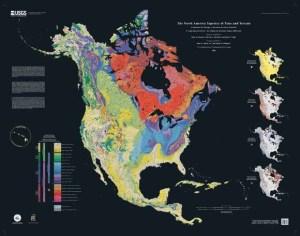 El mapa de Tiempo y Terreno de Norteamérica. Fuente: USGS.