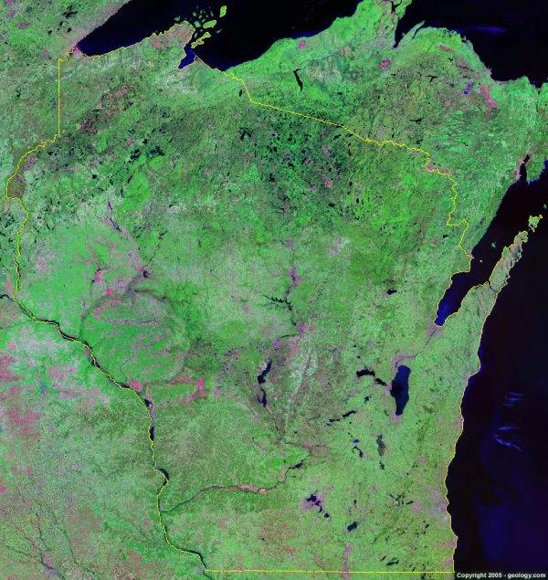 Wisconsin Satellite Images Landsat Color Image