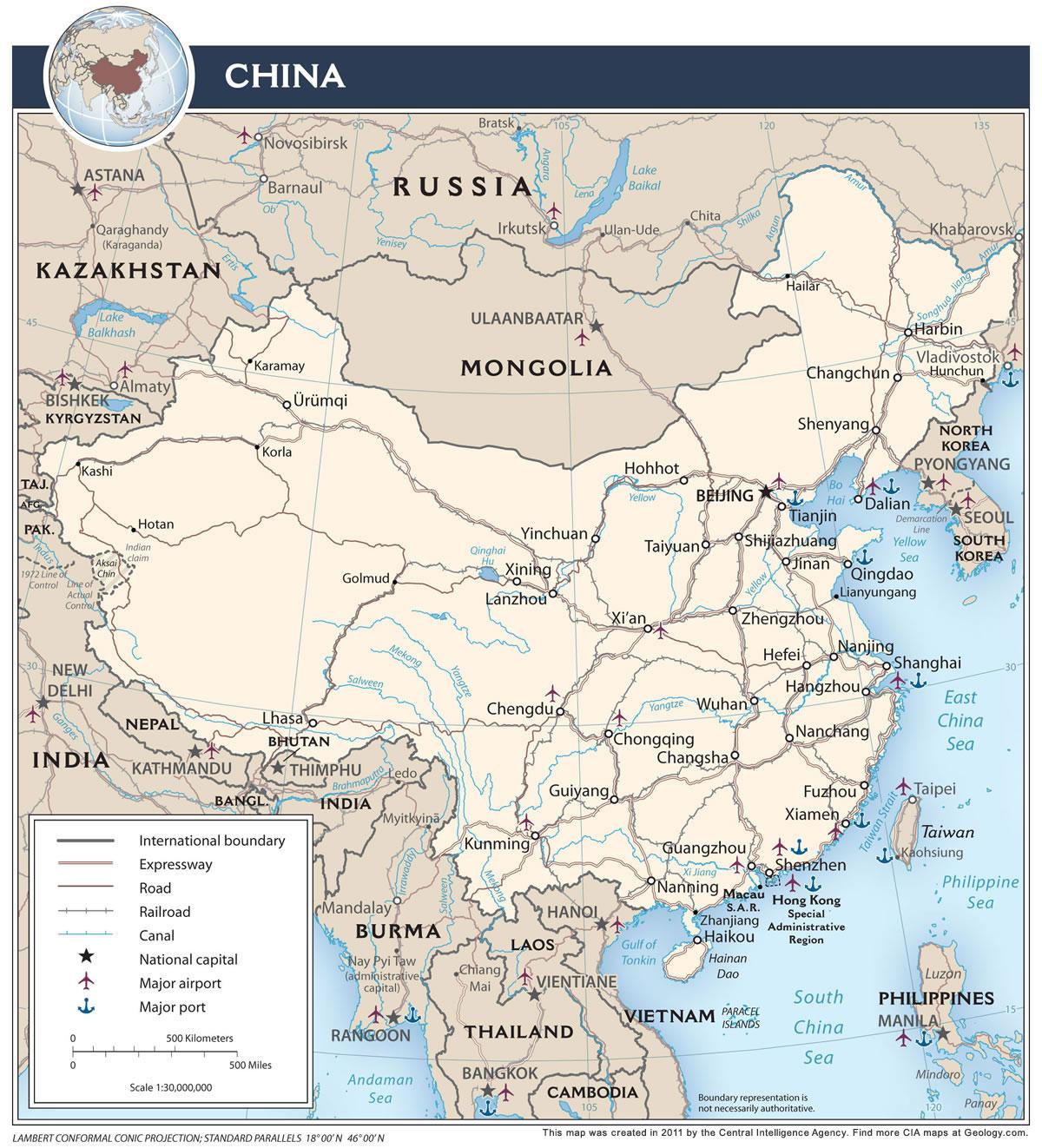China Map And Satellite Image