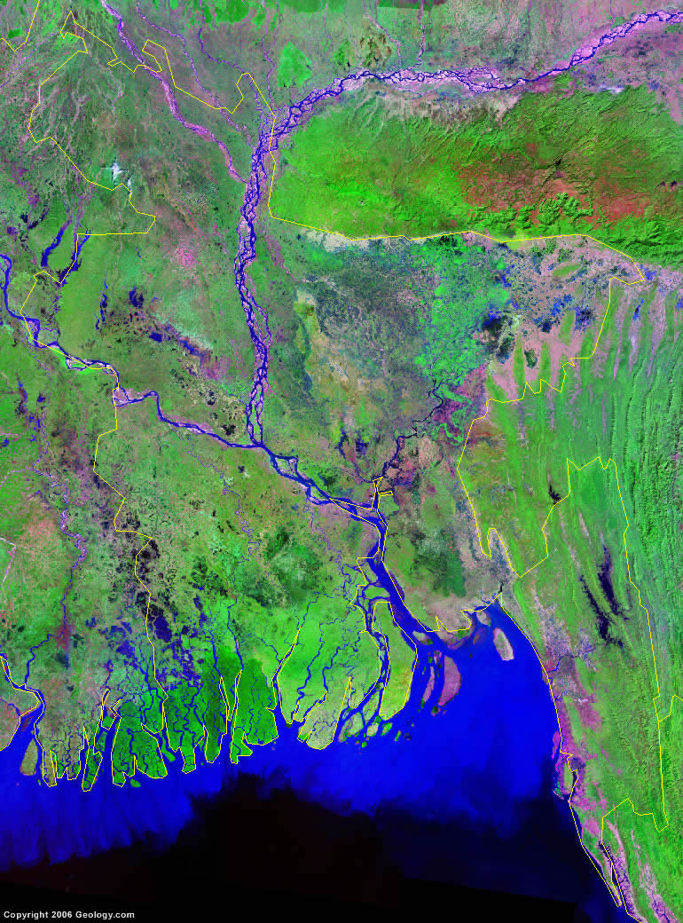 Bangladesh Map And Satellite Image