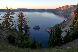 Sunrise over Crater Lake and Phantom Ship.