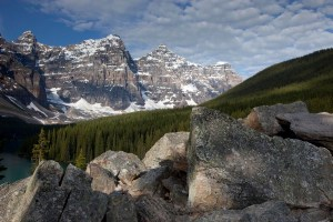 Glacial till and Valley of the Ten Peaks