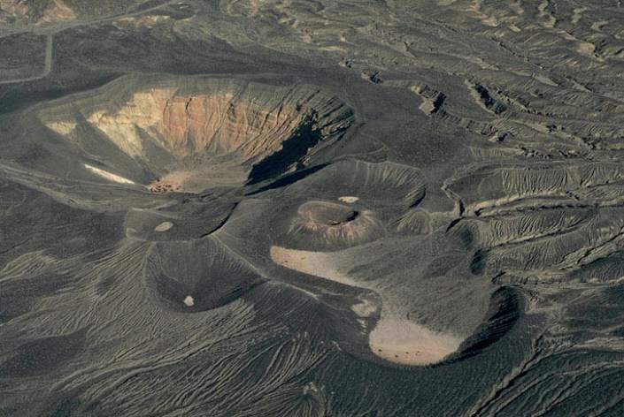 Phreatic explosion craters. Little Hebe Craters, Death Valley,