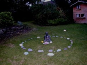 Sacred healing circle with Buddha. Note the orbs.