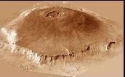 This image is of the largest volcano on Mars, named Olympus Mons, which is also the largest in the solar system.