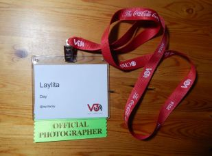 My badge for V3Con. Photo by Laylita Day.