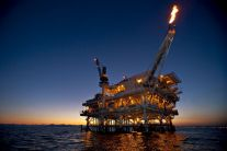 An oil drill off the coast of Long Beach. Image from www.businessweek.com
