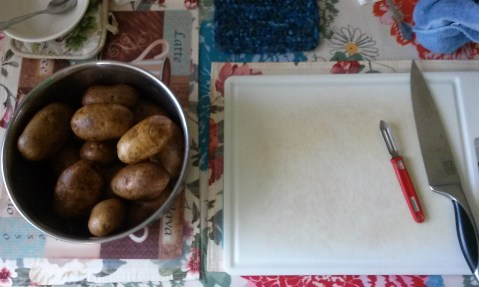 Small brown potatoes before chopped. Photo by Laylita Day