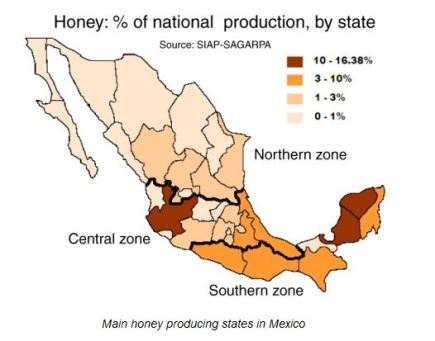 Percentage of honey production by state, Mexico. Image from Geo-Mexico.com