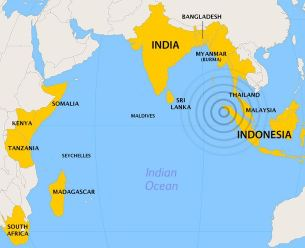 2004 Indian Ocean tsunami-affected areas. Image from Wikipedia.org