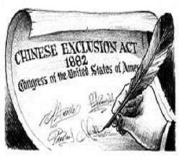 Cartoon discussing the Chinese Exclusion Act. Image from Google Images.