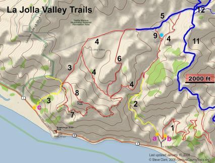 Map of trails at La Jolla Valley. Image from Ventura County Trails website.