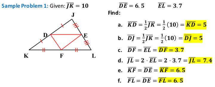 Triangle Midsegment Theorem Sample Problem 1