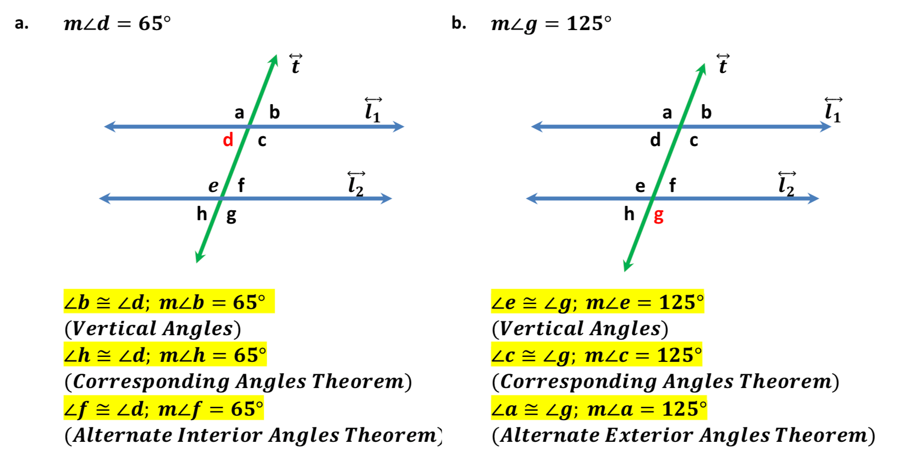 hight resolution of Parallel Lines and Transversals ⋆ GeometryCoach.com