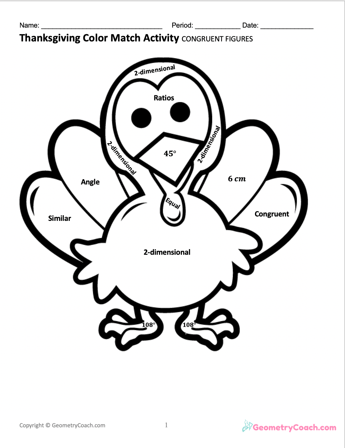 FREE Thanksgiving Worksheet for Geometry ⋆ GeometryCoach.com