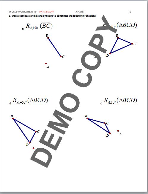 Geometry G Rotations Worksheet 1. geometry g rotations