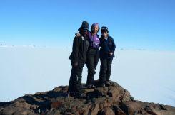 Tebogo, Jenna and Nicola on Ice Axe Peak