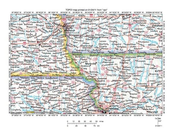 Tarkio RiverNodaway River drainage divide area landform