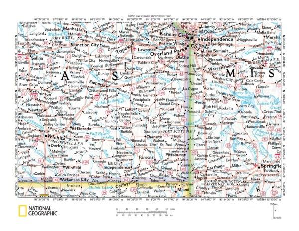 Pottawatomie CreekNeosho River drainage divide area