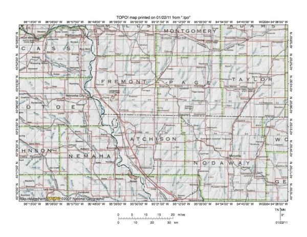Missouri RiverTarkio River drainage divide area landform