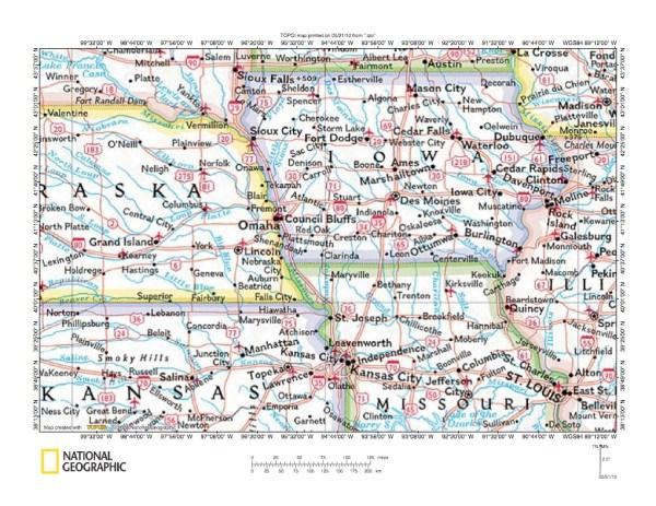 Missouri River drainage basin landform origins between