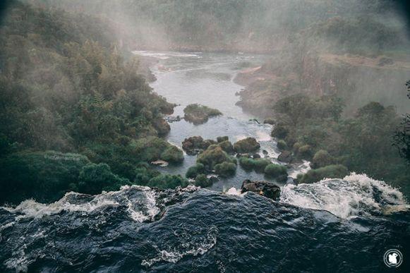 Vue du dessus d'une cascade d'Iguazu en Argentine