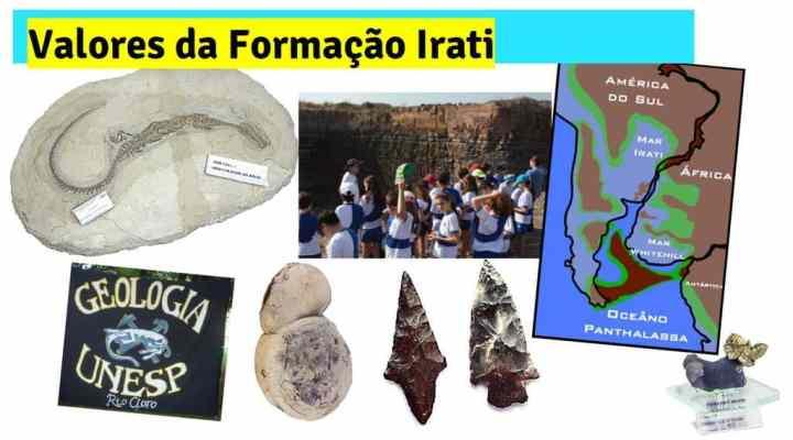 valores da formação Irati incluem rochas, fósseis, roteiros didáticos, artefatos pré-históricos, entre outros