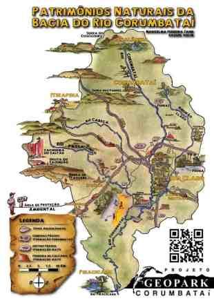 adesivo do mapa ilustrado da patrimônio natural do Geopark Corumbataí