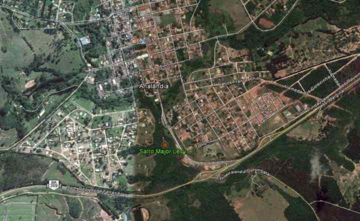 Mapa de localização da cachoeira.