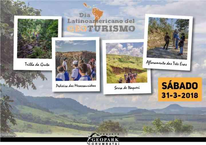 Cartaz das comemorações ao Dia Latinoamericano do Geoturismo no Geopark Corumbataí