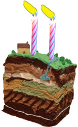 GeoPrac.net turns two! Geology cake stratigraphy by Khol-y (Flickr) after original design by Tim Babb.