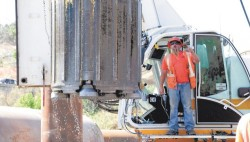 Anderson Drilling's 'Thor' Cluster Drill being removed from the hole