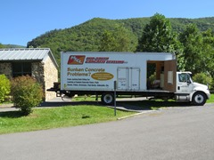 Mid-South Concrete Leveling truck at Seneca Rocks Discovery Center