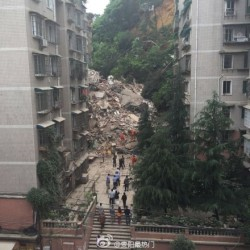 Nine story apartment building collapses in Guiyang city