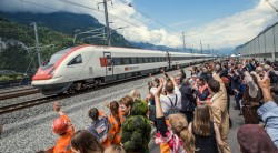 Crowds celebrate the opening of the Gotthard Base Tunnel