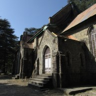 The church was rebuilt after the 1905 earthquake which destroyed it, however the spire was never replaced.