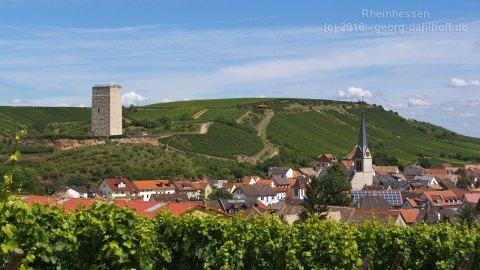 Nierstein-Schwabsburg: Ortsübersicht mit Schlossturm - Bild Nr. 201107191658