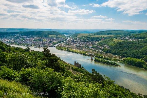 Bingen, Nahemündung - Aussicht von der Ruine Rossel - Bild Nr. 201405040320