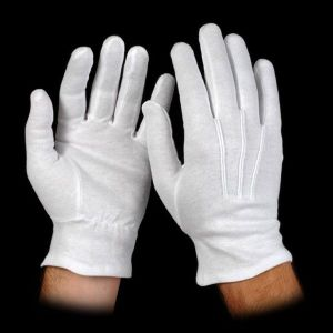 white cotton slip-on gloves